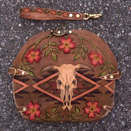 Cow skull clutch with navajo designs & wild roses, carved leather by Joren Eulalee Back & Front Flap View
