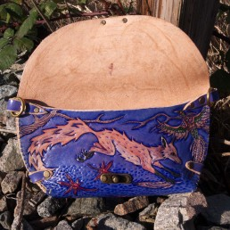 Fox clutch hunting pheasants in the fall, carved leather by Joren Eulalee Under flap